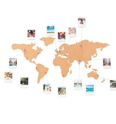 Mapa mundi de corcho adhesivo para la pared y decoración.