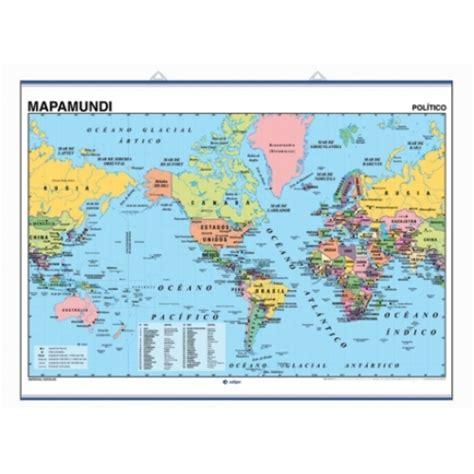 Mapa mural Mapamundi Americéntrico, físico / político