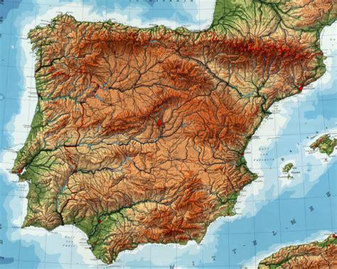 Mapa para imprimir de la físico de España | España Mapa ...