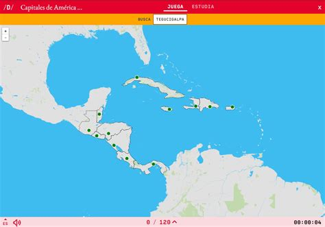 Mapa para jugar. ¿Dónde está? Capitales de América Central ...