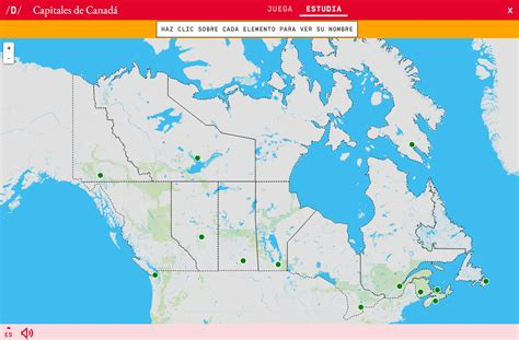 Mapa para jugar. ¿Dónde está? Capitales de Canadá - Mapas ...