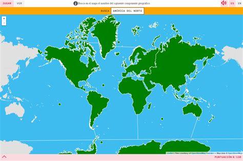 Mapa para jugar. ¿Dónde está? Continentes y océanos del ...