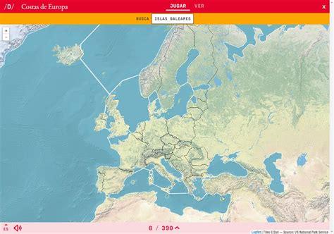 Mapa para jugar. ¿Dónde está? Costas de Europa - Mapas ...
