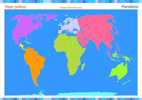 Mapa Planisferio para completar - Mapas, tarjetas