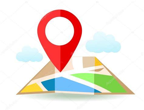 Mapa plano con pin. Icono de puntero de la ubicación de ...