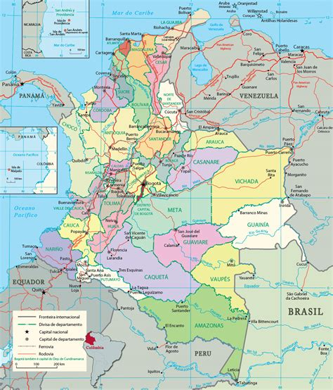 Mapa Político da Colômbia