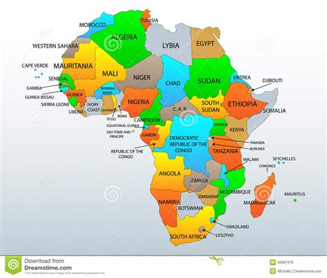 Mapa político de África ilustración del vector ...