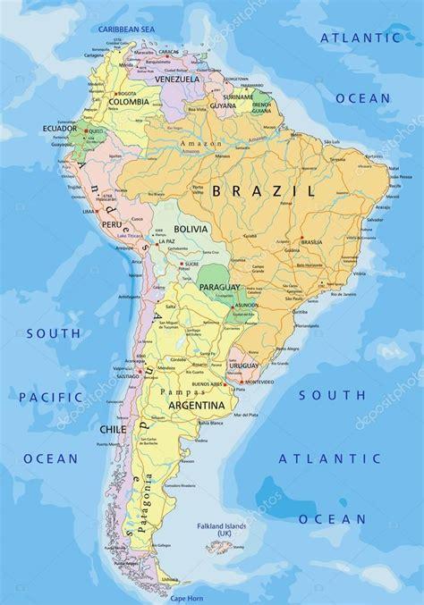 mapa político de América del sur — Archivo Imágenes ...