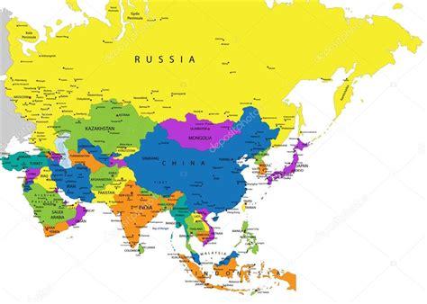 Mapa político de Ásia colorido — Vetor de Stock ...