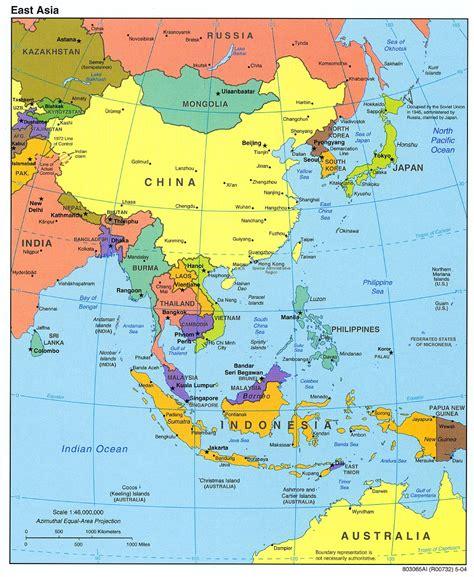 Mapa Político de Asia del Este 2004 - Tamaño completo
