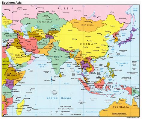 Mapa Politico de Asia Meridional 1994 - Tamaño completo