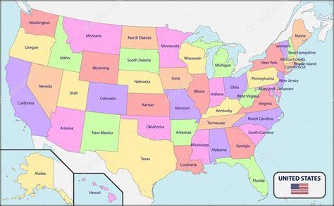 Mapa político de Estados Unidos con nombres — Archivo ...