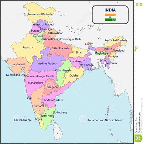 Mapa Político De La India Con Nombres Ilustración del ...