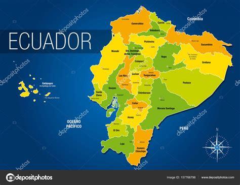 Mapa político de la República del Ecuador con los nombres ...
