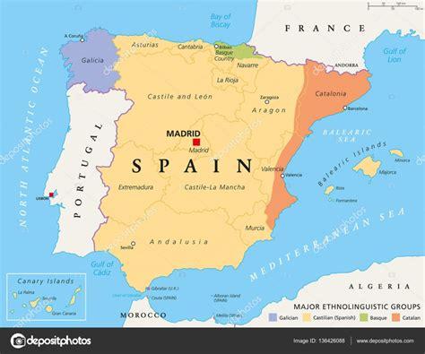 Mapa político de las comunidades autónomas de España ...