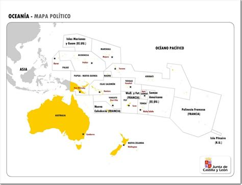 Mapa político de Oceanía Mapa de países y capitales de ...