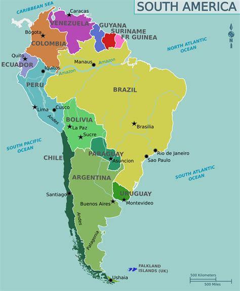 Mapa Político de Sudamérica - Tamaño completo