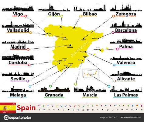 Mapa Vectorial España Con Siluetas Skylines Las Ciudades ...