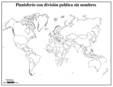 Mapamundi con división política sin nombres para imprimir ...