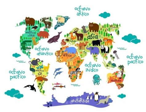 Mapamundi para niños, físico, político, para colorear e ...