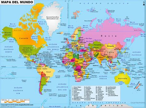 Mapamundis políticos para imprimir | Mapas del mundo de ...