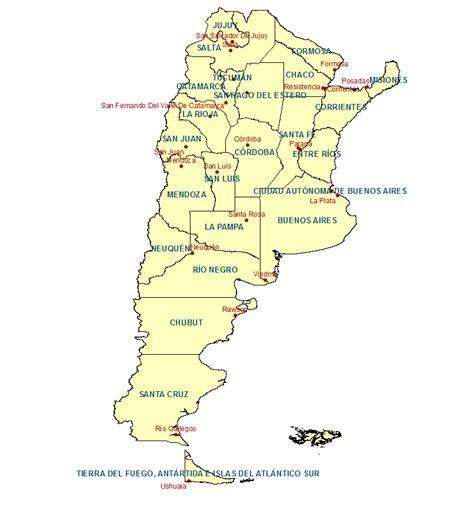 Mapas de las provincias de Argentina y sus capitales