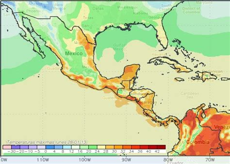 Mapas de pronósticos de Tempertura y lluvia lunes 28 de ...