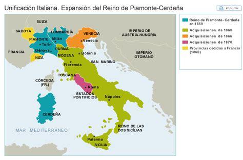 Mapas: Unificación Italiana. Expansión del reino de ...