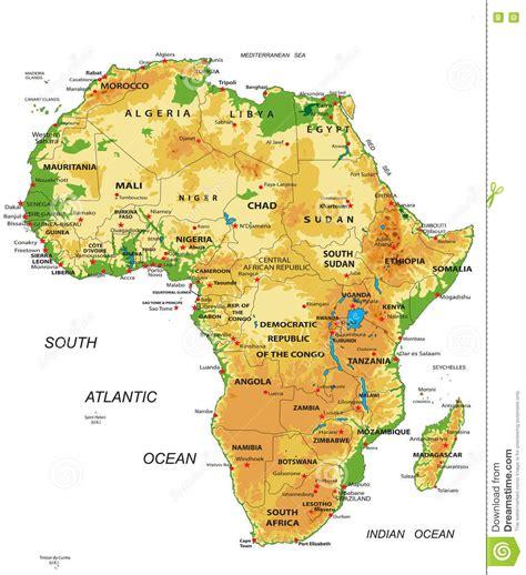 Mappa Africa-fisica illustrazione vettoriale ...