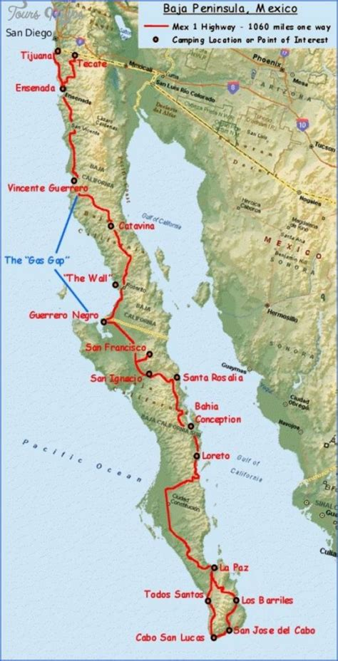Maps of Baja California Mexico - ToursMaps.com