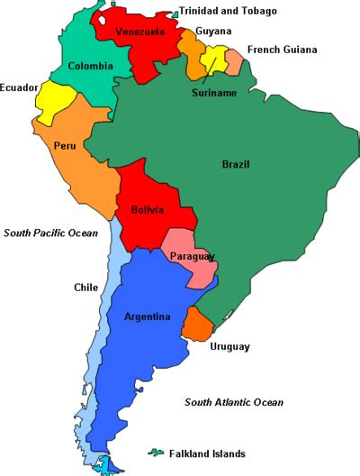 maps of dallas: Political Map of South America