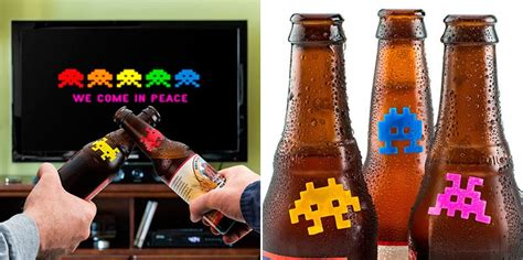 Marcadores de botellas de Space Invaders. Ideas para regalar.