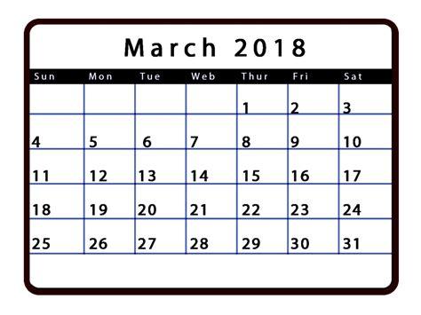 March 2018 Calendar Editable | Calendar Template Letter ...
