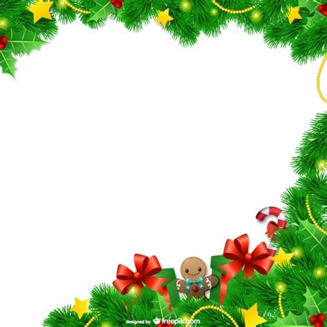Marco de navidad con hojas   Descargar Vectores gratis