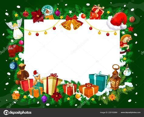 Marco de Navidad de regalos y adornos de árbol — Vector de ...