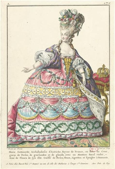 Marie-Antoinette in court dress by Claude-Louis Desrais ...