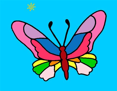 Mariposa de colores- dibujo - Imagui