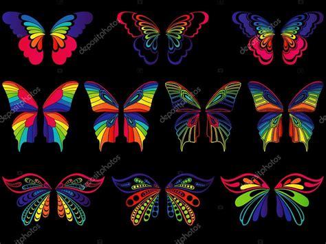 Mariposas de colores sobre fondo negro — Archivo Imágenes ...