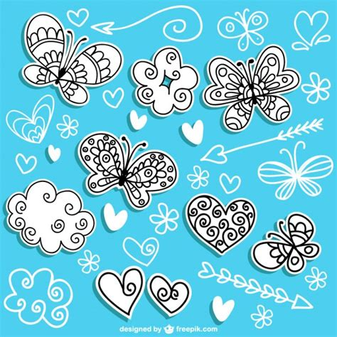 Mariposas dibujadas a mano | Descargar Vectores gratis