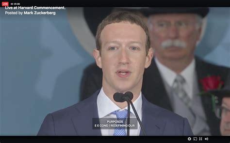 Mark Zuckerberg's commencement speech streamed on Facebook ...