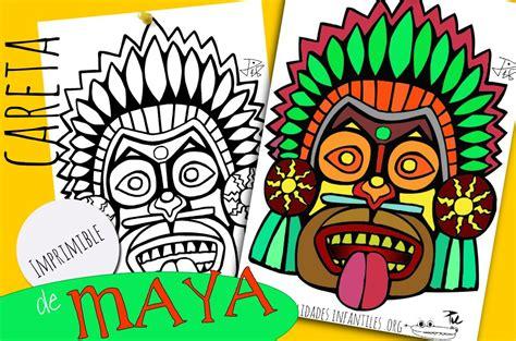 Máscaras Mayas para imprimir y colorear   Actividades para ...