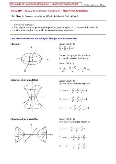 Mat exercicios resolvidos – superficies quadricas