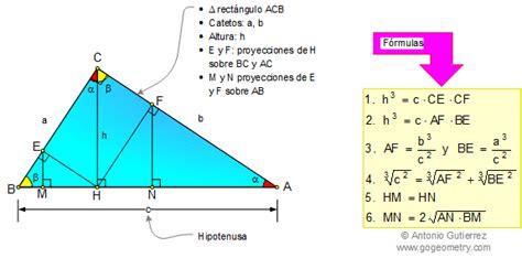 Matematicas, Formulas del triangulo rectangulo ...