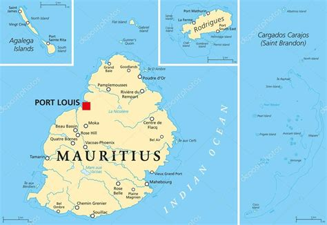 Mauritius Political Map — Stock Vector © Furian #59032355