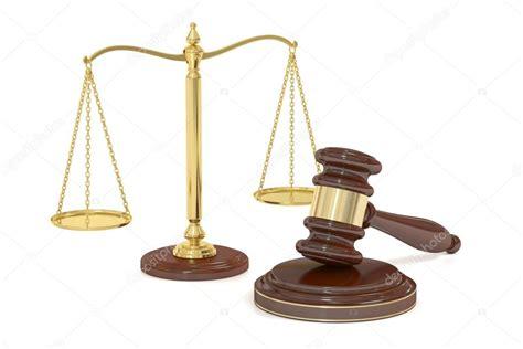 mazo de madera y oro balanza de la justicia, render 3d ...