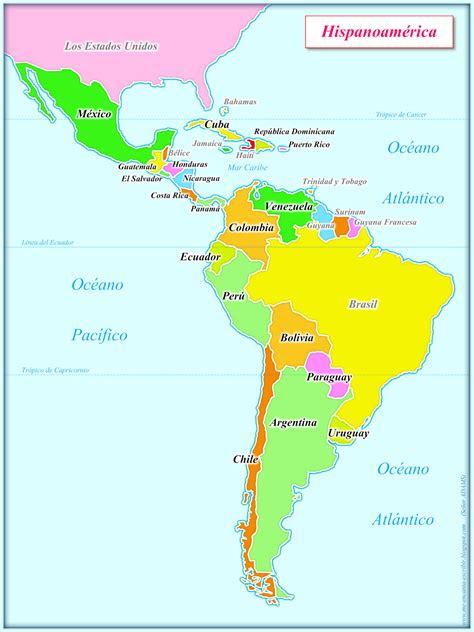 Me encanta escribir en español: Mapa de Hispanoamérica