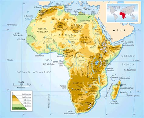 Me gustan las Sociales: ÁFRICA. Mapa físico.