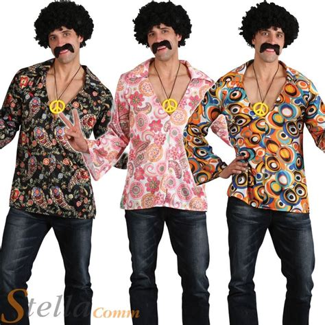 Mens Hippy Hippie 60s 70s Groovy Adult Fancy Dress Costume ...