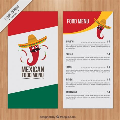 Menú mexicano con chile divertido | Descargar Vectores gratis
