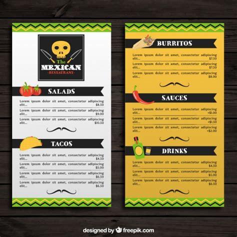 Menú mexicano con comida típica | Descargar Vectores gratis